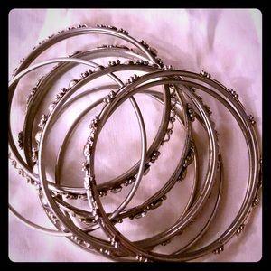 Stack of Assorted Vintage Bangle Bracelets